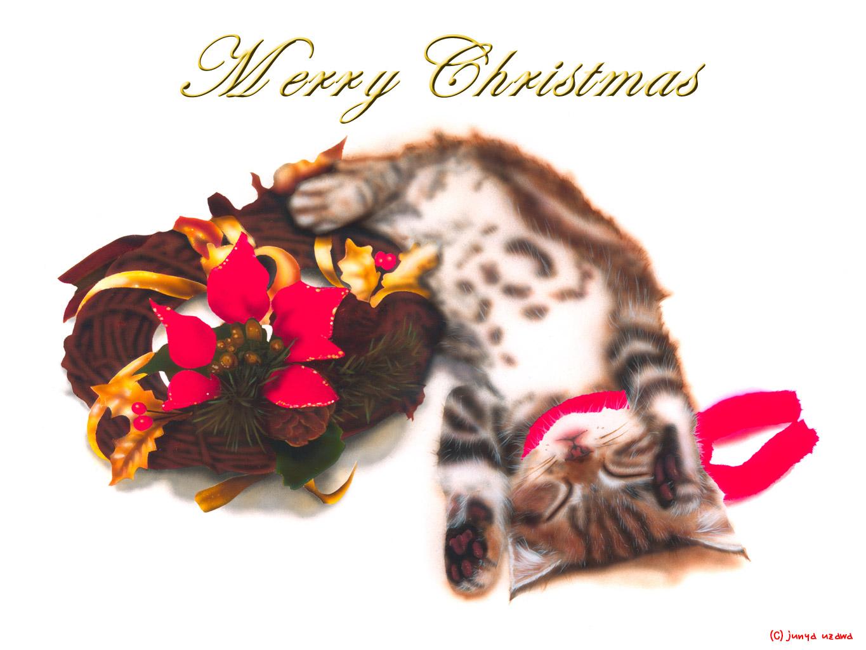 子猫の絵:Merry Christmas 〜クリスマスリースと子猫〜