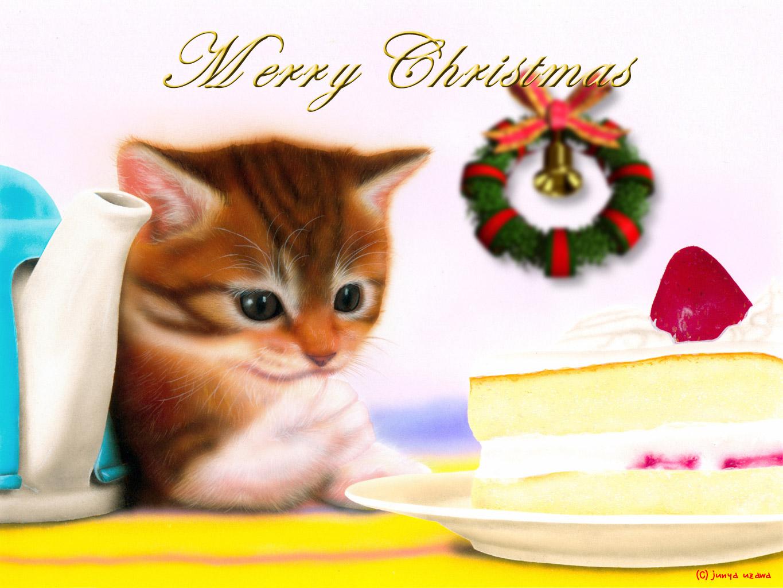 子猫の絵:Merry Christmas 〜子猫とショートケーキ〜
