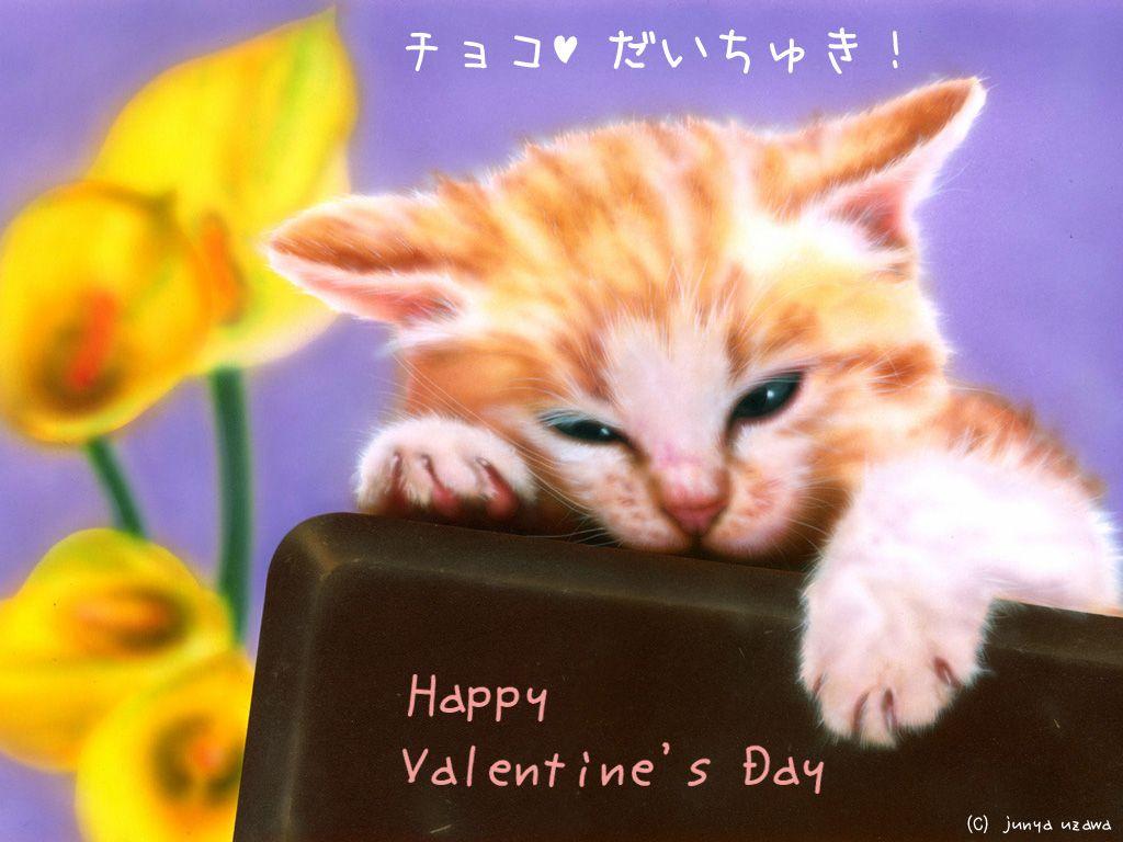 子猫の絵:I Love Chocolate !!(チョコ大好き!)