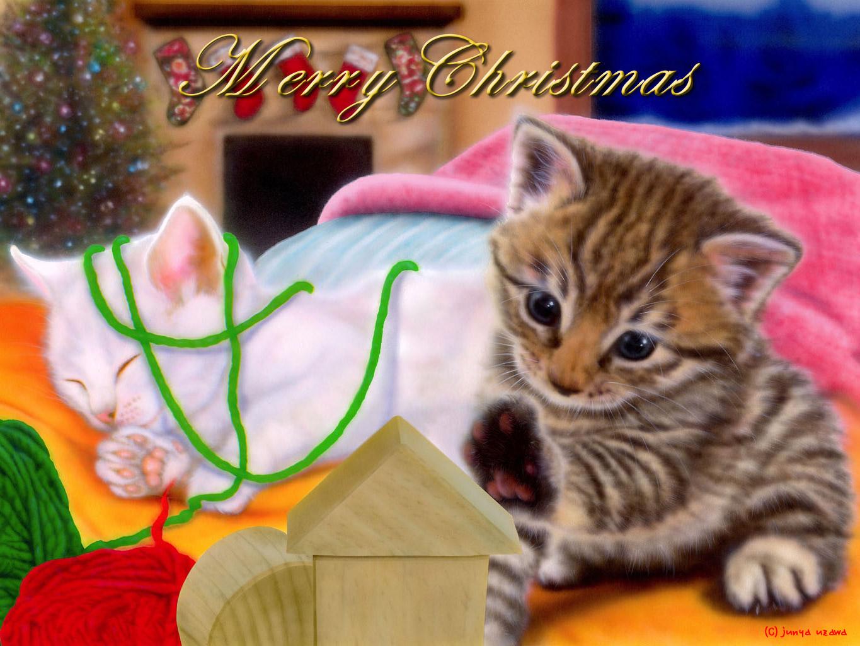 子猫の絵:今夜はクリスマス!