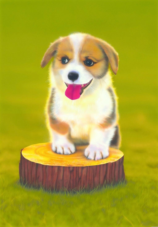 リアリズム絵画 動物の絵 動物イラスト 子犬の絵 コーギー Corgi 2