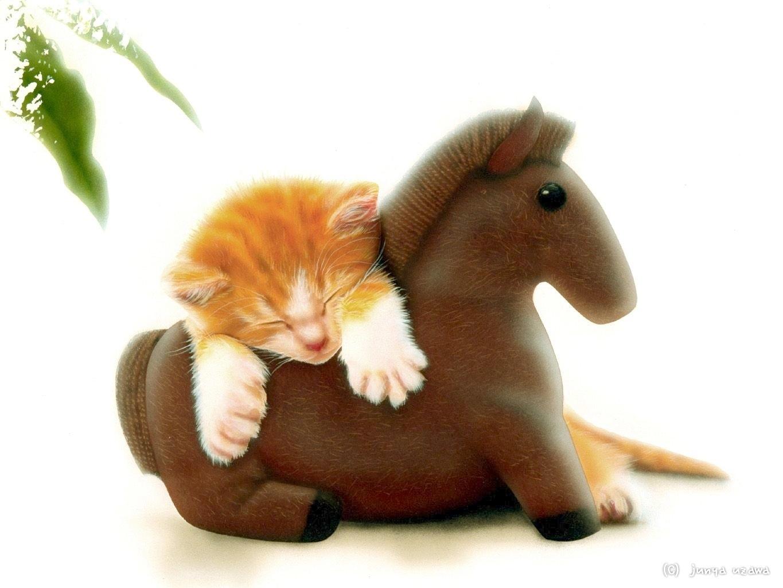 子猫の絵:お気に入りのぬいぐるみ