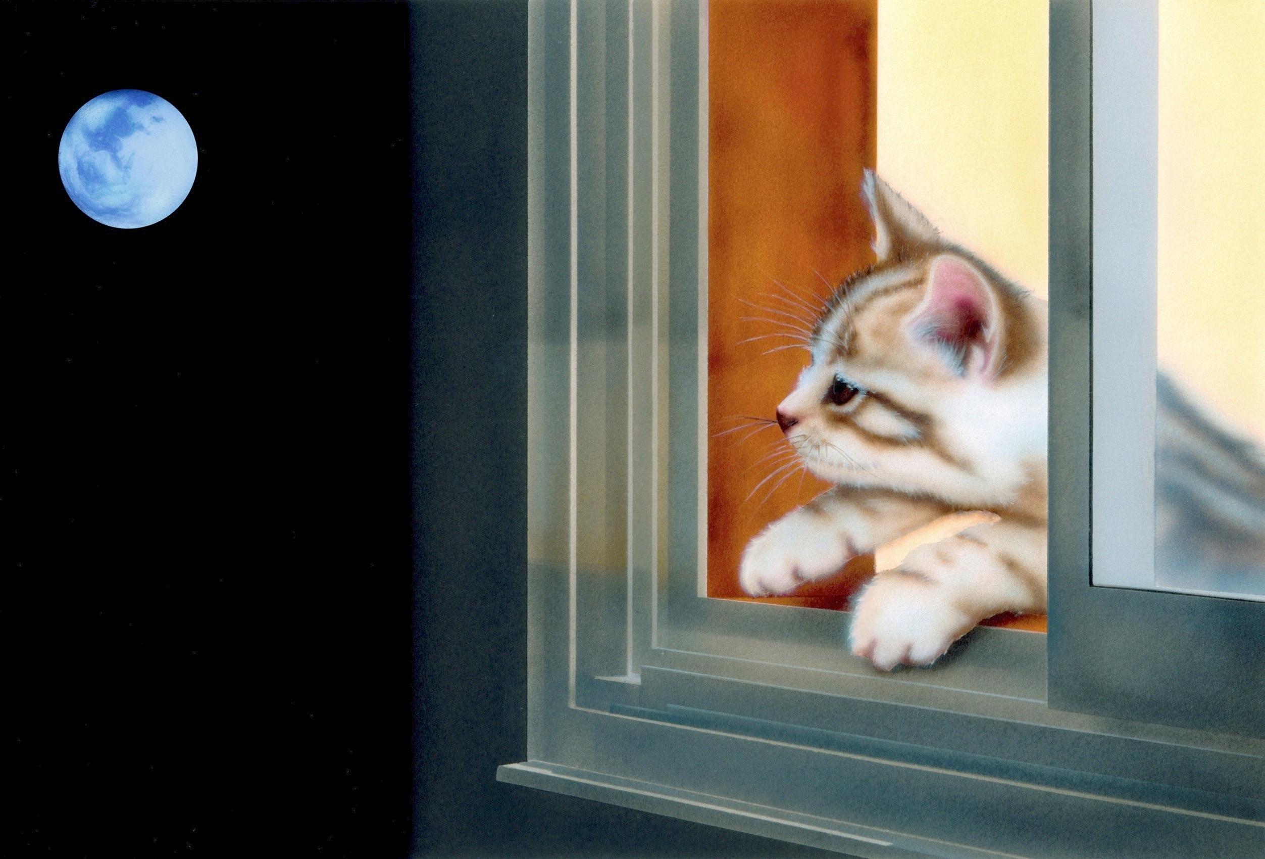 子猫の絵:Blue-Moon(ブルー・ムーン)