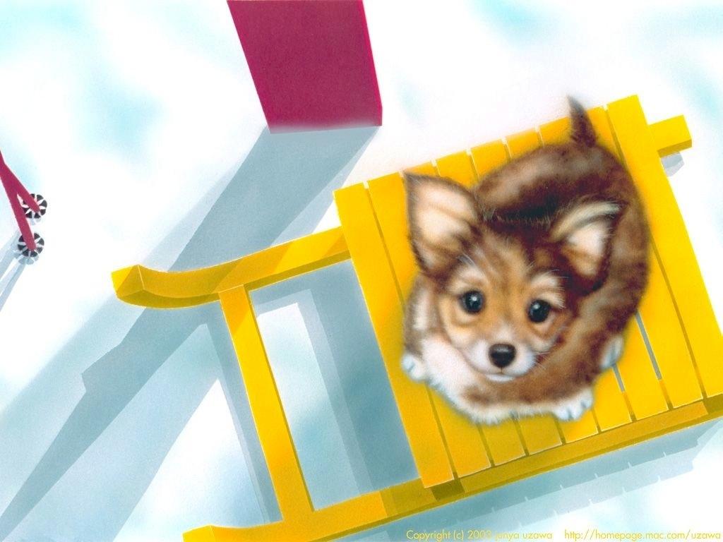 子犬の絵:Let's play skiing !!