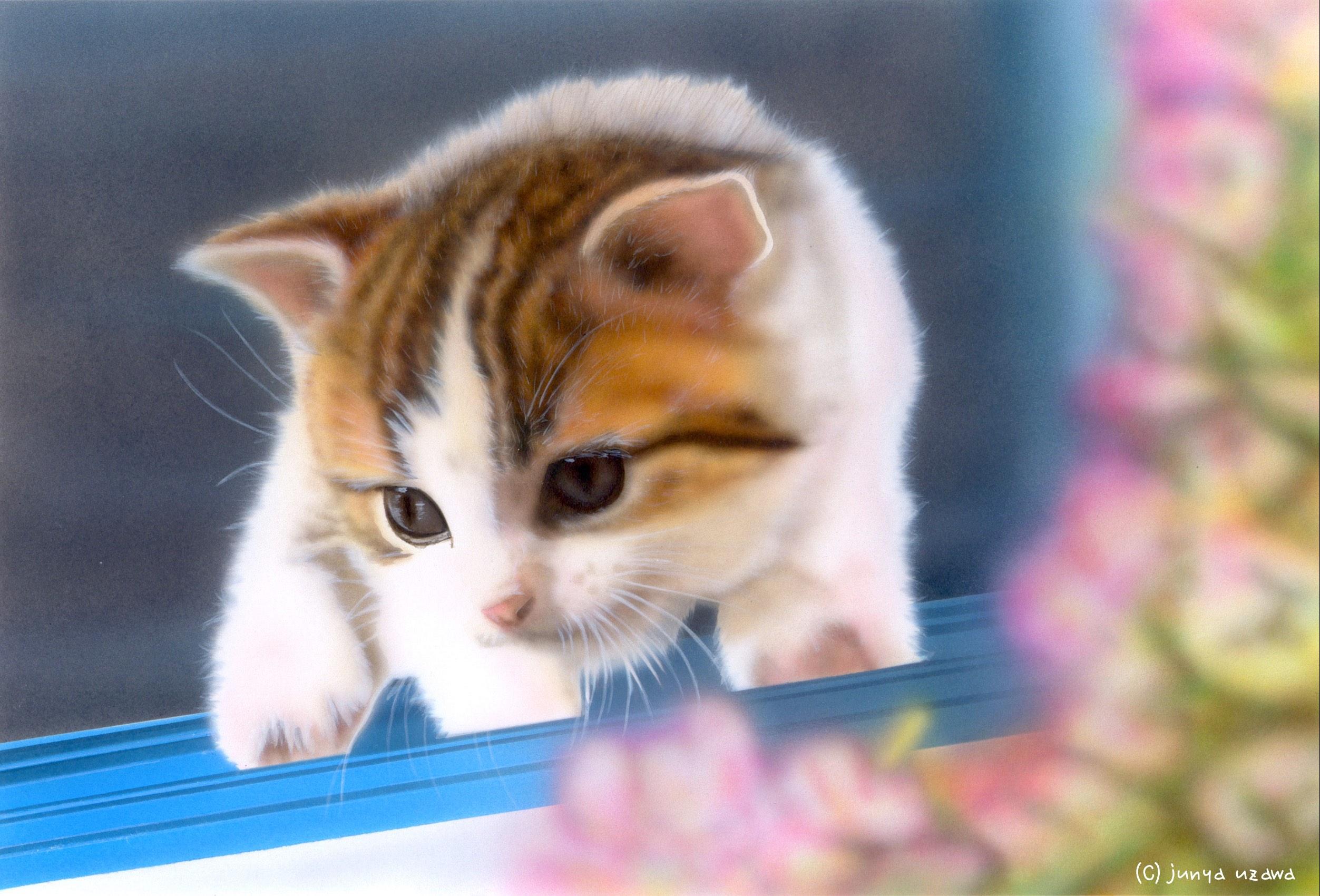 子猫の絵:「はじめての外出」
