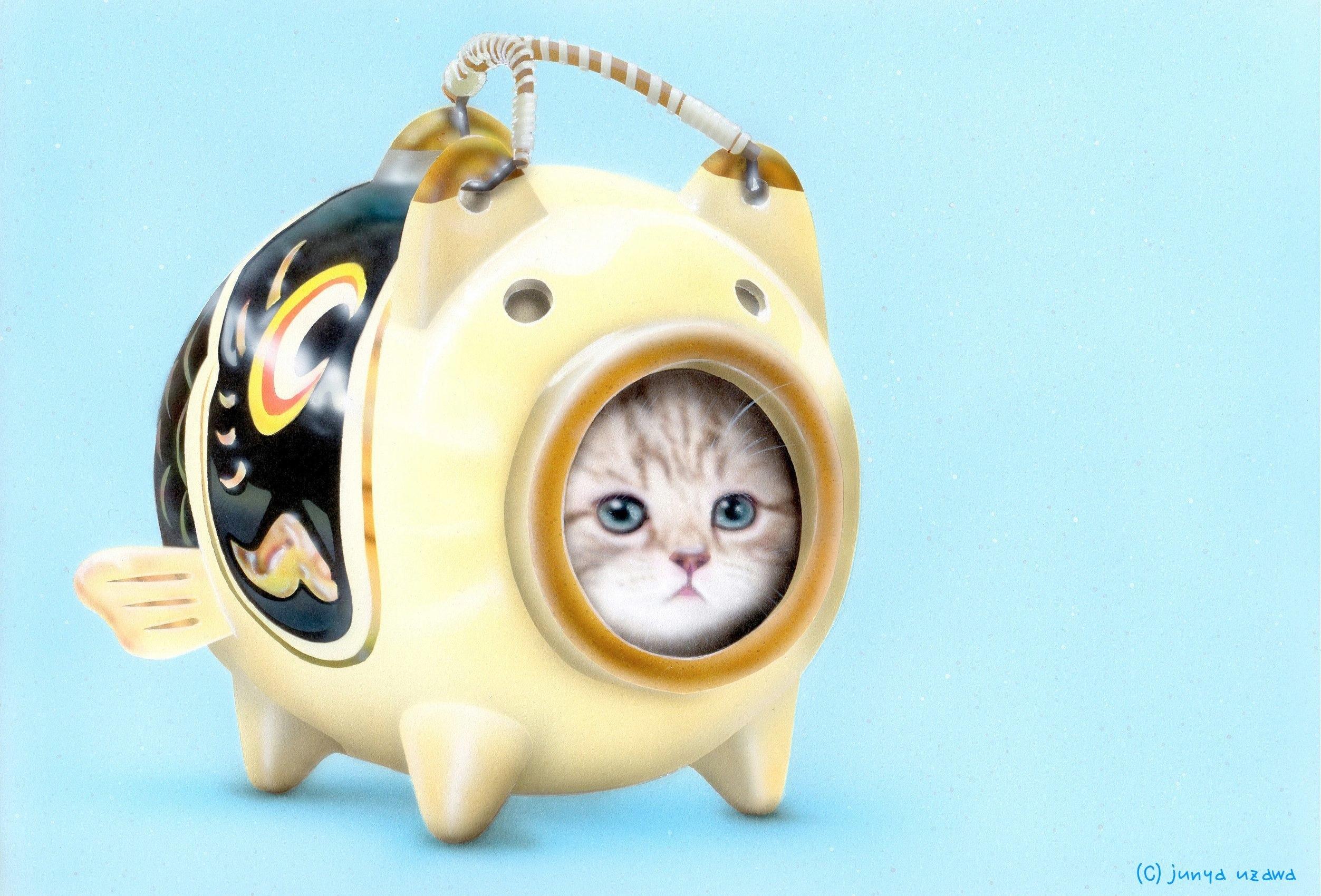 子猫の絵:蚊取りにゃん香 GW version