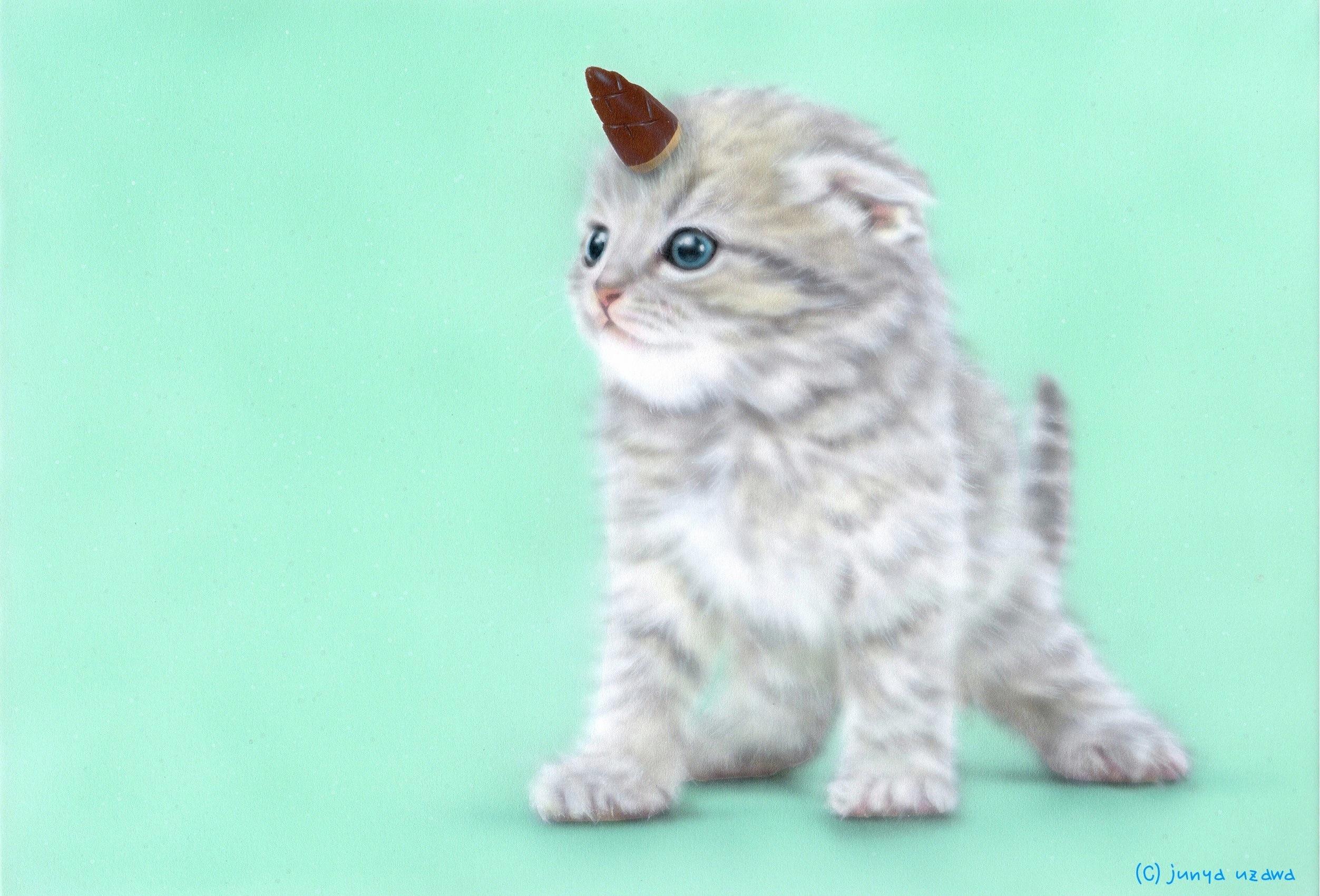 子猫の絵:ゆにゃんこ:ユニャコーン(たけのこの里版)