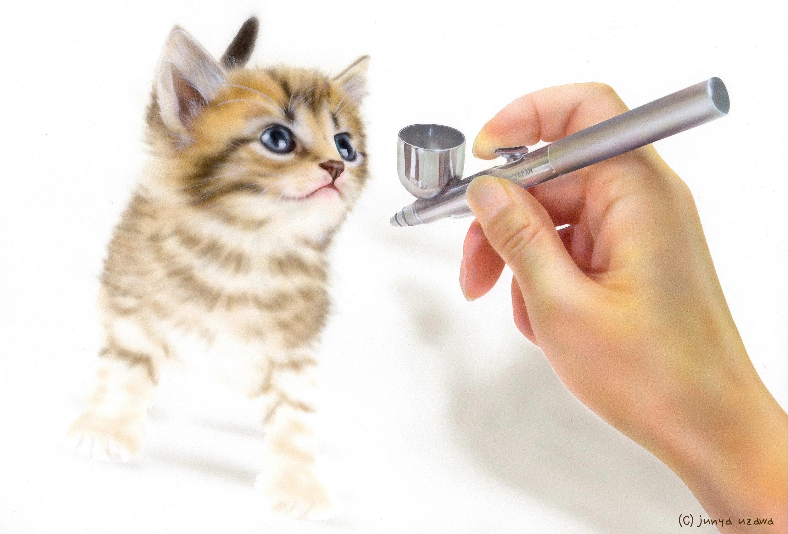 リアリズム絵画/動物の絵(動物イラスト)/子猫の絵/making
