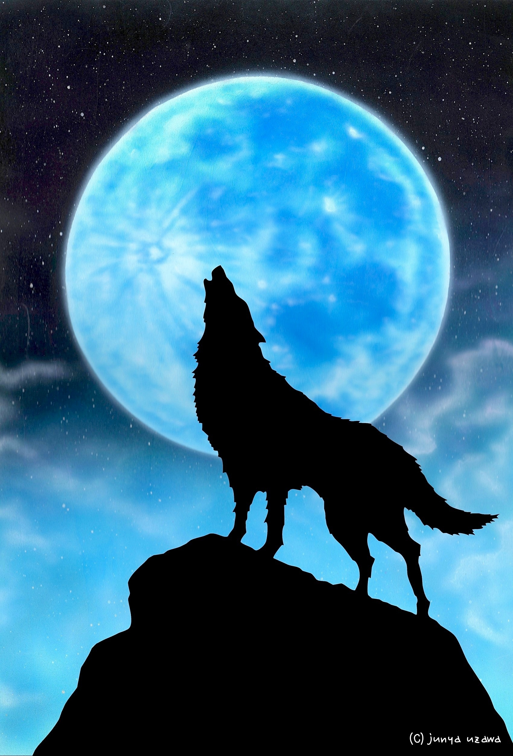 リアリズム絵画/切り絵:月と狼 : junya.blog(猫×犬)リアリズム絵画