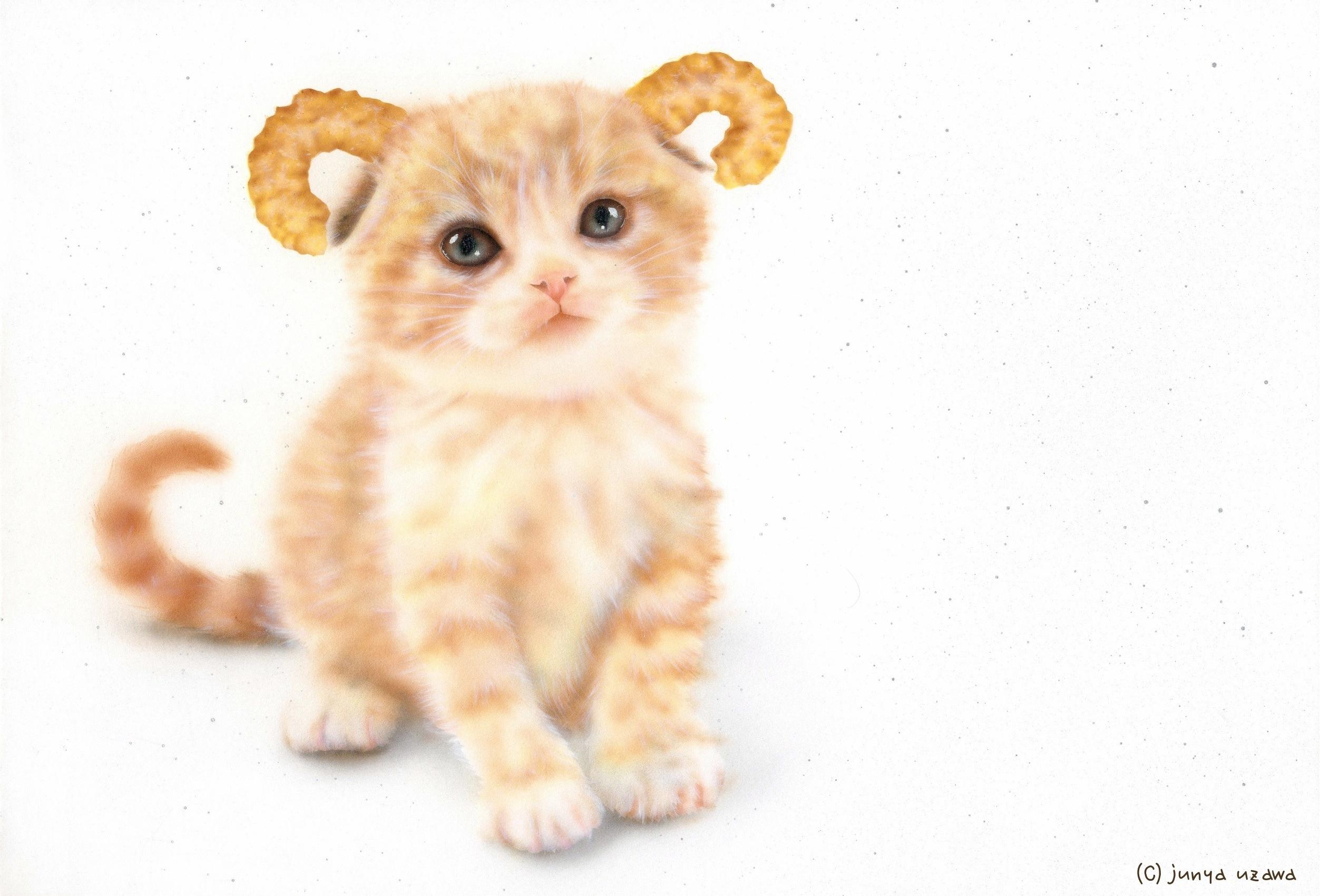 子猫の絵:鬼ゃんこ:キャラメルコーン